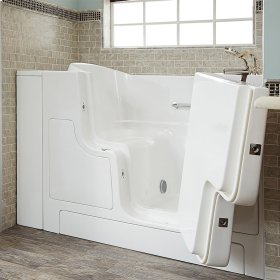 Gelcoat Premium Series 30x52 Inch Walk-in Tub with Outward Facing Door, Left Drain - White