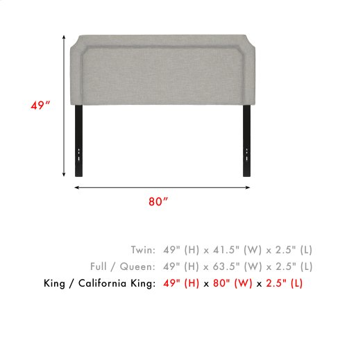 Chandler Upholstered Headboard with Adjustable Height and Piping Trim, London Fog Finish, King / California King