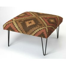 This hip square cocktail ottoman is whimsical and sophisticated. Upholstered in a durable 100% cotton print fabric in hues of cream, gold and black, its iron hairpin legs add a stylish industrial element in the living room.