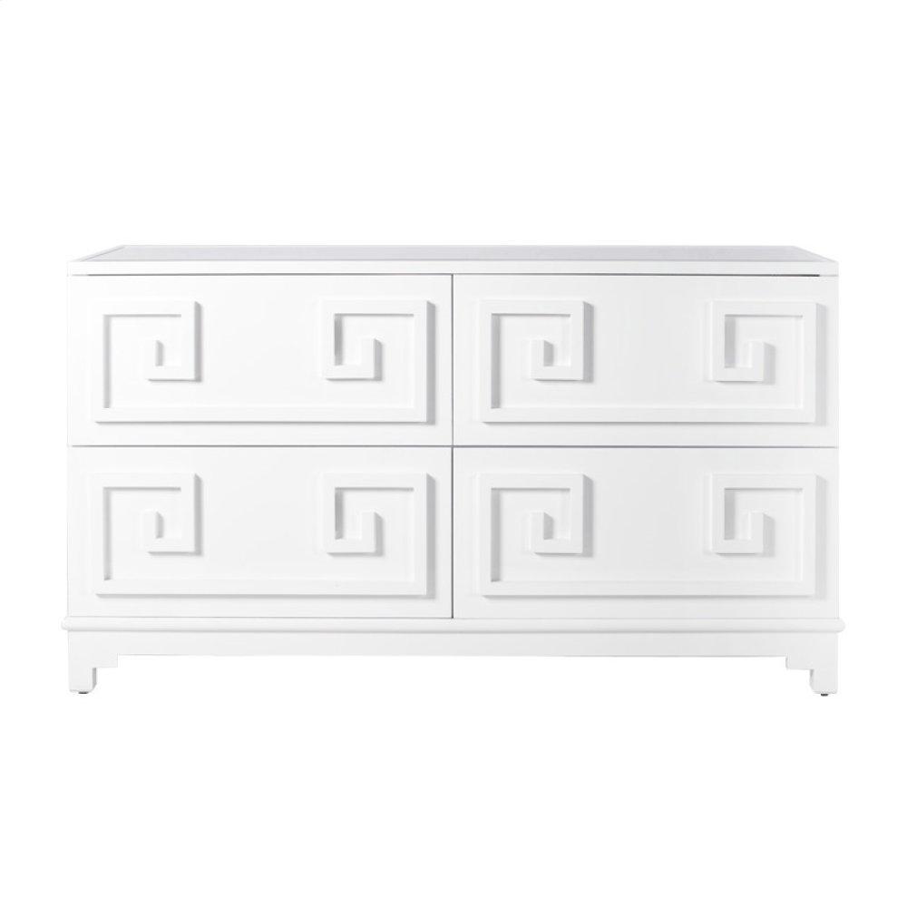 Four Drawer White Lacquer Dresser With Inset Mirror Top. All Drawers On Glides.