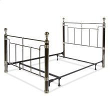 Northbrook Complete Metal Bed and Steel Support Frame with Antique Styling and Bold Finial Posts, Black Nickel and Chrome Finish, Queen