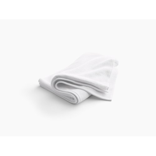"""White Bath Towel With Textured Weave, 30"""" X 58"""""""