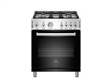 30 inch All Gas Range, 4 Brass Burner Black