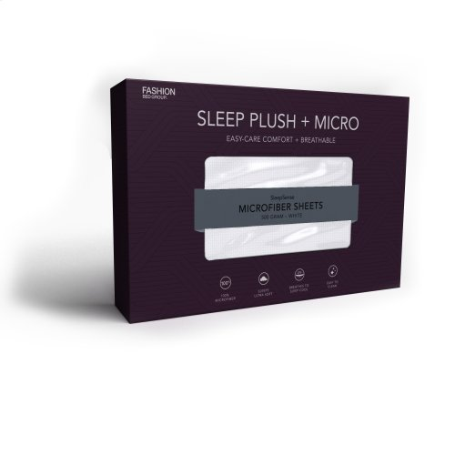 Sleep Plush + White 4-Piece Microfiber 500g Bed Sheet Set with Wrinkle Free Performance Fabric, Queen