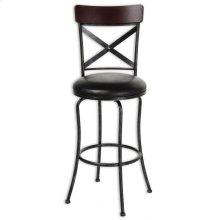 Austin Metal Barstool with Black Upholstered Swivel-Seat and Black Fleck Frame Finish, 30-Inch