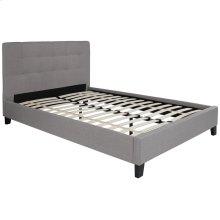 Full Size Upholstered Platform Bed in Light Gray Fabric