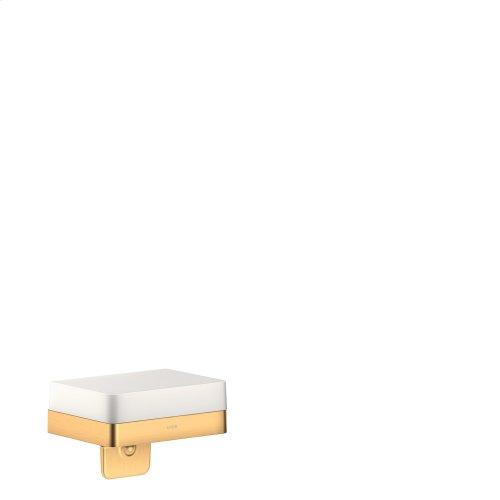 Brushed Brass Liquid soap dispenser with shelf