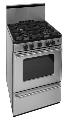 24 in. ProSeries Freestanding Battery Spark Sealed Burner Gas Range in Stainless Steel