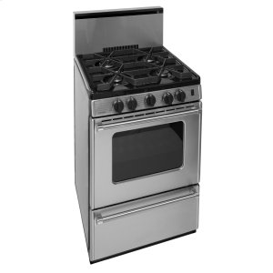 Premier24 in. ProSeries Freestanding Battery Spark Sealed Burner Gas Range in Stainless Steel