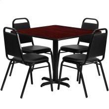 36'' Square Mahogany Laminate Table Set with 4 Black Trapezoidal Back Banquet Chairs