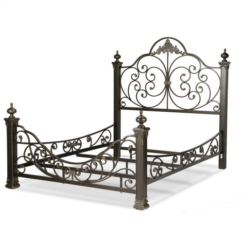 Baroque Complete Bed with Massive Cast Metal Grills and Decorated Sloping Side Rails, Gilden Slate Finish, Queen