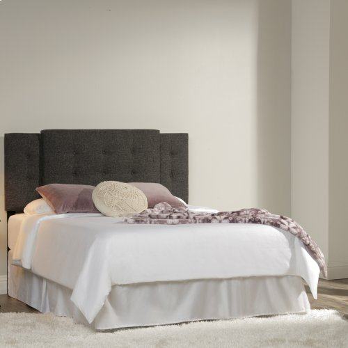Hazelton Universal Sized Button-Tuft Upholstered Headboard with Expandable Width and Adjustable Height, Asphalt Gray Finish