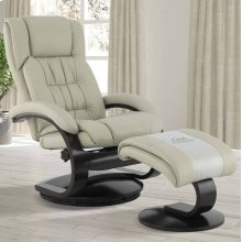Narvick Recliner and Ottoman in Beige Breathable Air Leather