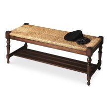 This spectacular bench will make a grand statement at the foot of a bed, an entryway or in virtually any other space. Hand crafted from solid mahogany wood solids, it features a meticulously woven banana leaf wicker seat, immaculately turned legs and a sl