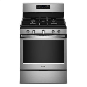 Whirlpool5.0 cu. ft. Freestanding Gas Range with Center Oval Burner Black-on-Stainless