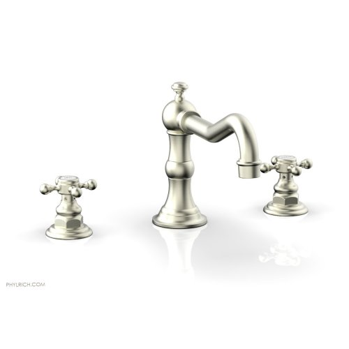 HENRI Deck Tub Set - Cross Handle 161-40 - Satin Nickel
