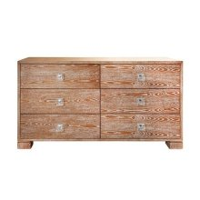 Six Drawer Dresser With Nickel and Acrylic Hardware In Dark Cerused Oak