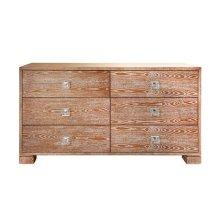 Six Drawer Dresser With Nickel and Acrylic Hardware In Dark Cerused Oak