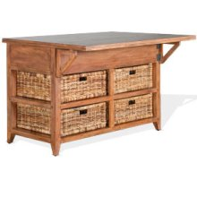 "Mossy Oak Kitchen Island Table w/ 13"" Folding Leaf"