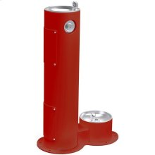 Elkay Outdoor Fountain Pedestal with Pet Station Non-Filtered, Non-Refrigerated Red