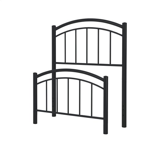 Rylan Fashion Kids Metal Headboard and Footboard Bed Panels with Gently Arced Top Rails and Vertical Spindles, Black Ink Finish, Twin