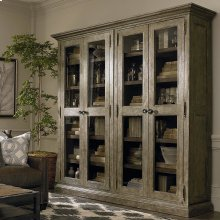 Emporium Smoked Oak Compass Tall Double Display Cabinet