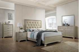 Dawson Champagne Tufted King Bed with Faux Leather