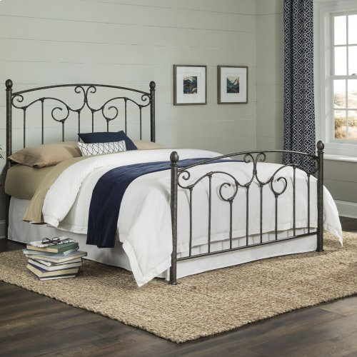 Hinsdale Complete Metal Bed with Sloping Top rails and Vertical Spindles, Antiqued Pewter Finish, Queen