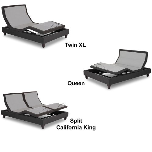 P-232 Furniture Style Adjustable Bed Base with Upholstered Frame and LPConnect, Charcoal Black Finish, Split King