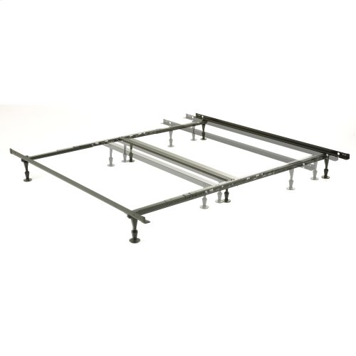 Harvard Adjustable NH850G Heavy Duty Bed Frame with Keyhole Cross Arms and (6) 2-Piece Glide Legs, Queen - King