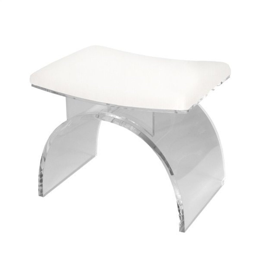 Lucite Arched Stool Base With White Linen Cushion.
