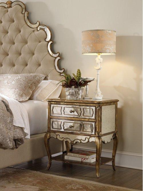 Bedroom Sanctuary Mirrored Leg Nightstand-Bling