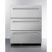 Three-drawer Commercial Outdoor All-refrigerator In Complete Stainless Steel With Automatic Defrost Operation and Towel Bar Handles