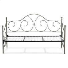 Caroline Complete Metal Daybed with Link Spring Support Frame and Gently Sloping Back and Side Panels, Flint Finish, Twin