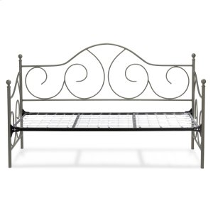 Caroline Complete Metal Daybed with Link Spring Support Frame and Gently Sloping Back and Side Panels, Flint Finish, Twin -