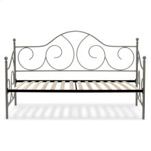 Caroline Complete Metal Daybed with Euro Top Spring Support Frame and Gently Sloping Back and Side Panels, Flint Finish, Twin