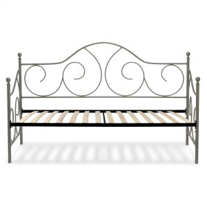 Caroline Complete Metal Daybed with Euro Top Spring Support Frame and Gently Sloping Back and Side Panels, Flint Finish, Twin -