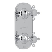 "Polished Chrome Italian Bath 1/2"" Thermostatic/Diverter Control Trim with Cross Handle"