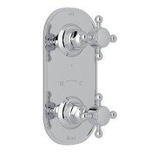 "Polished Chrome Italian Bath 1/2"" Thermostatic/Diverter Control Trim with Cross Handle"