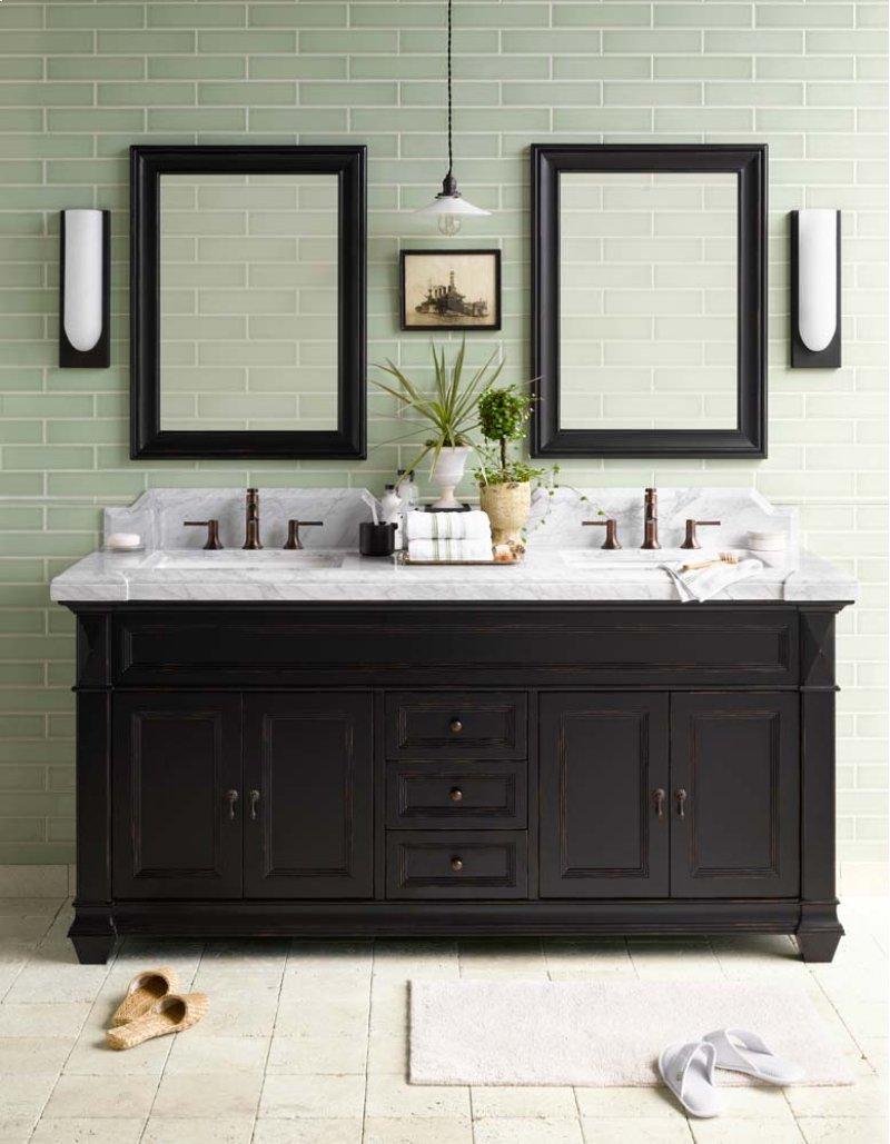 "Torino 72"" Bathroom Vanity Cabinet Base in Antique Black"