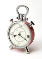 This red desk clock is crafted in a round shape that features Roman numerals over a white face, featuring a kick stand and a sturdy handle. The clock can be placed on any table or shelves , blends with a variety of decor. Makes a great gift. Product Image