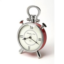 This red desk clock is crafted in a round shape that features Roman numerals over a white face, featuring a kick stand and a sturdy handle. The clock can be placed on any table or shelves , blends with a variety of decor. Makes a great gift.