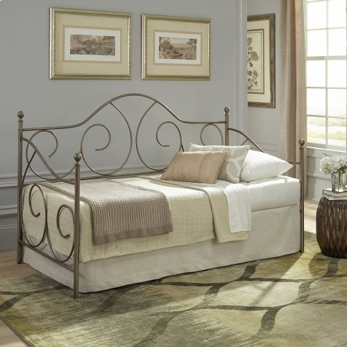 Cambry Metal Daybed Frame with Gently Sloping Back and Side Panels, Aged Iron Finish, Twin