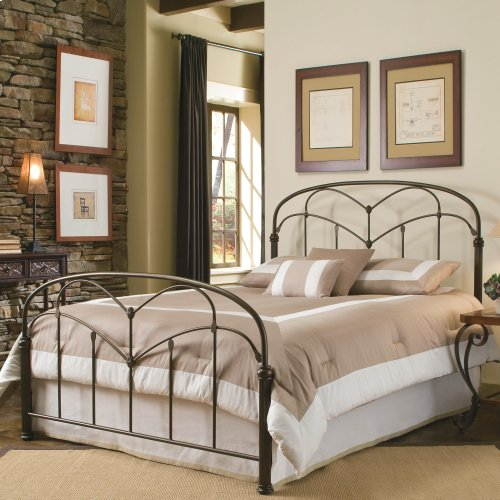 Pomona Metal Headboard and Footboard Bed Panels with Curved Grills and Detailed Posts, Hazelnut Finish, Queen
