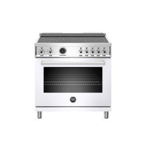 Bertazzoni36 inch Induction Range, 5 Heating Zones, Electric Self-Clean Oven Bianco
