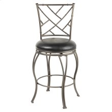 Honolulu Swivel Seat Counter Stool with Coffee Finished Metal Frame, Sculpted Legs and Black Faux Leather Upholstery, 26-Inch Seat Height
