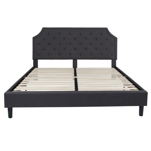 King Size Tufted Upholstered Platform Bed in Dark Gray Fabric