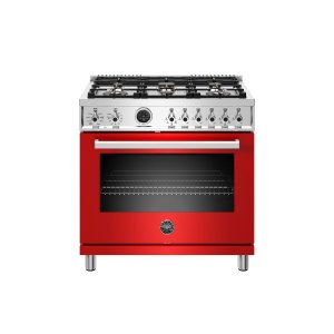 Bertazzoni36 inch Dual Fuel Range, 6 Brass Burner, Electric Self-Clean Oven Rosso