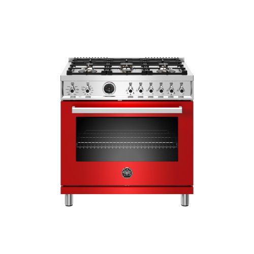 36 inch Dual Fuel Range, 6 Brass Burner, Electric Self-Clean Oven Rosso