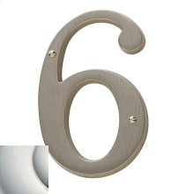 Polished Nickel with Lifetime Finish House Number - 6